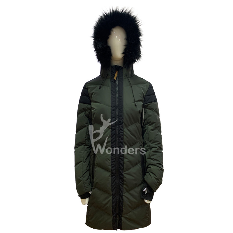 Women's insulated padded puffer winter parka jacket with fake fur hood