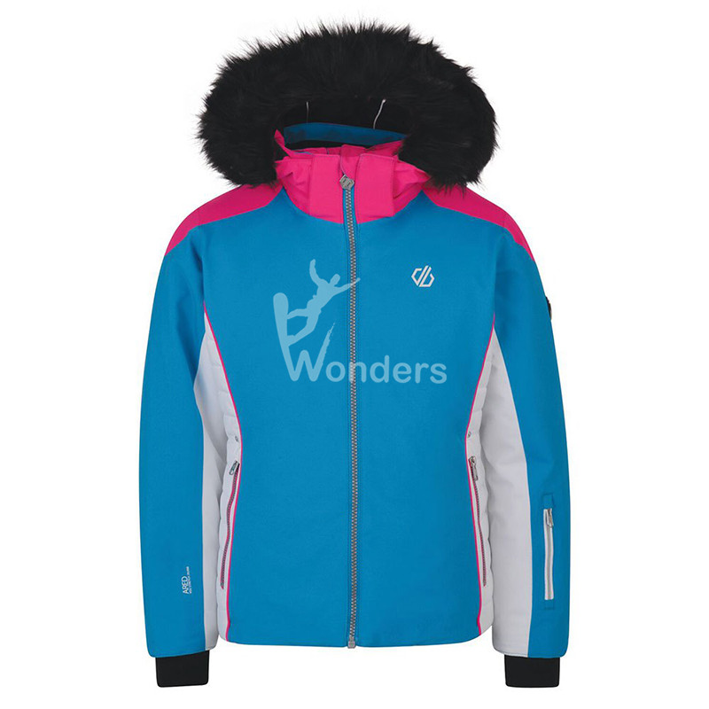 Girls Kids Hoodie Detachable Fur Hoodie Ski Jacket