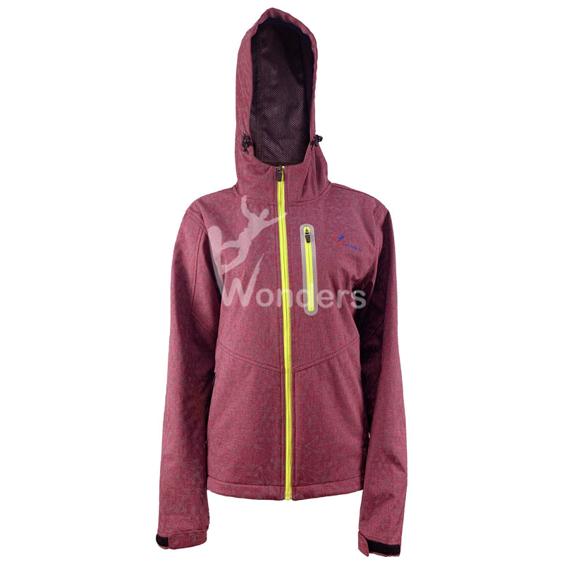 Womens Outdoor cool Reflective soft shell jacket Multi-Functional Waterproof and Windproof Jackets with Hoodid
