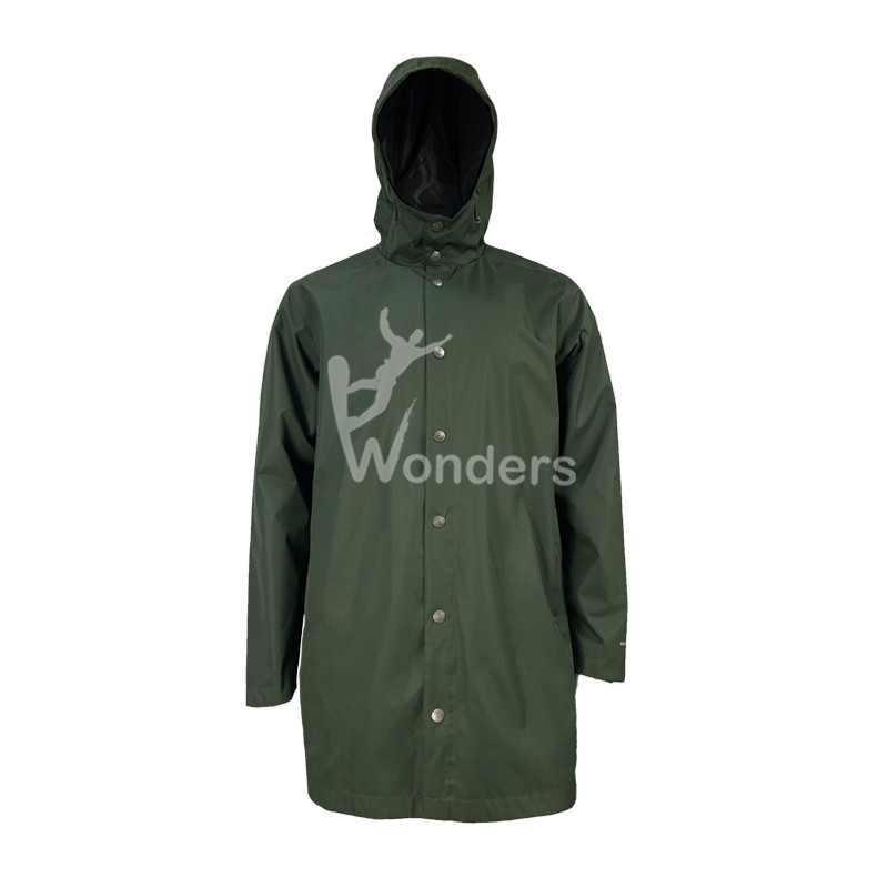 Men's Lightweight Long Raincoat Waterproof Breathable Hooded Rain Jacket Windbreaker