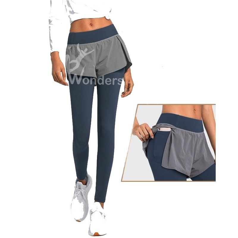Women's High Waist Fake Two-piece Sports Legging Yoga Pants with Pocket