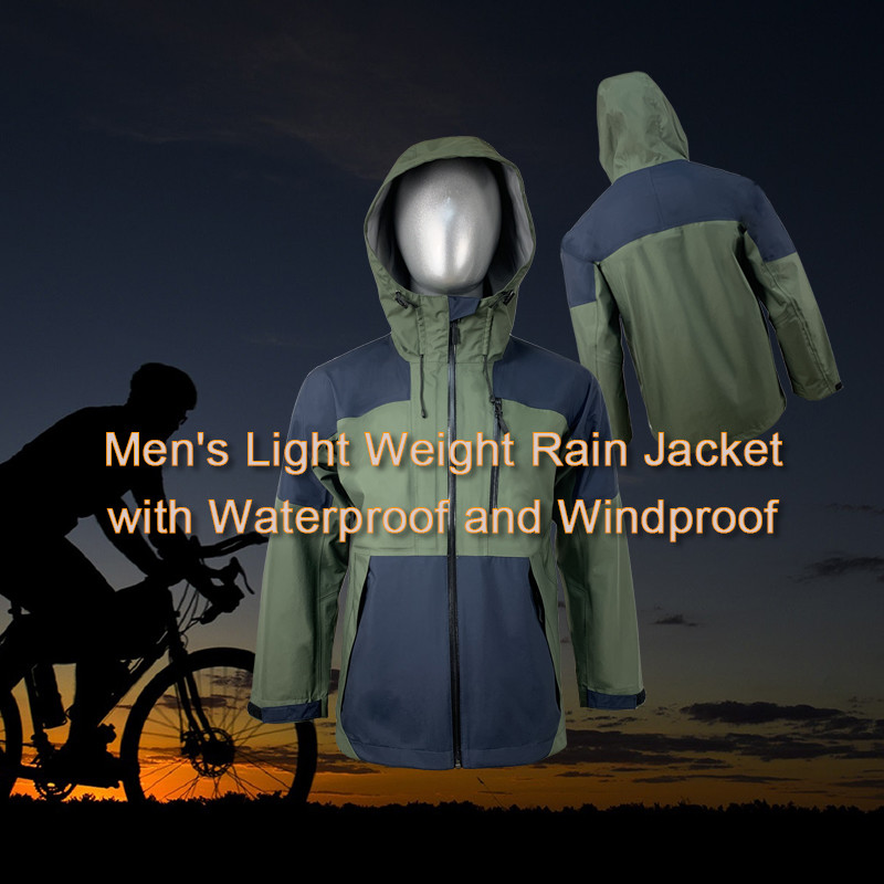 Men's Light Weight Rain Jacket with Waterproof and Windproof