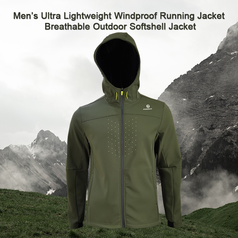Mens Ultra Lightweight Windproof Running Jacket Breathable Outdoor Softshell Jacket