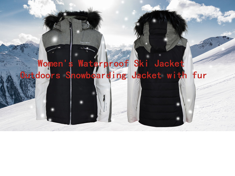 Women's Waterproof Ski Jacket Outdoors Snowboarding Jacket With Fur Hood
