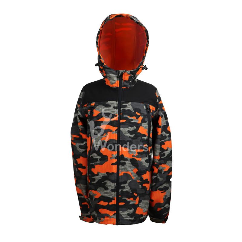 Best Kids Hooded Camo Print Softshell Waterproof Jacket