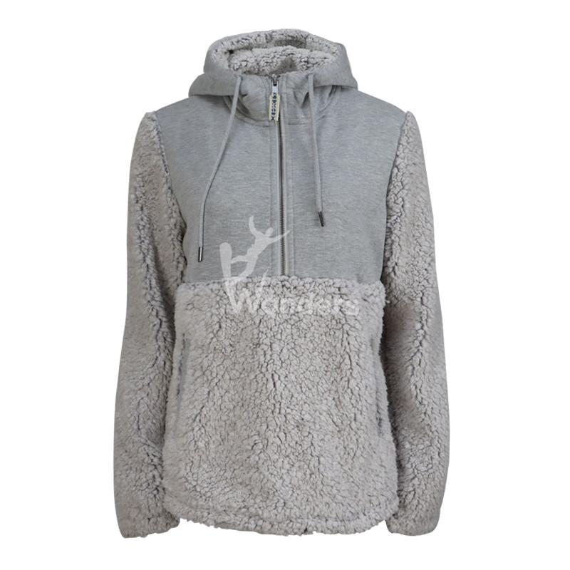 Womens Half-Zip Hooded Sweatshirt Hoodie Fleece Pullover
