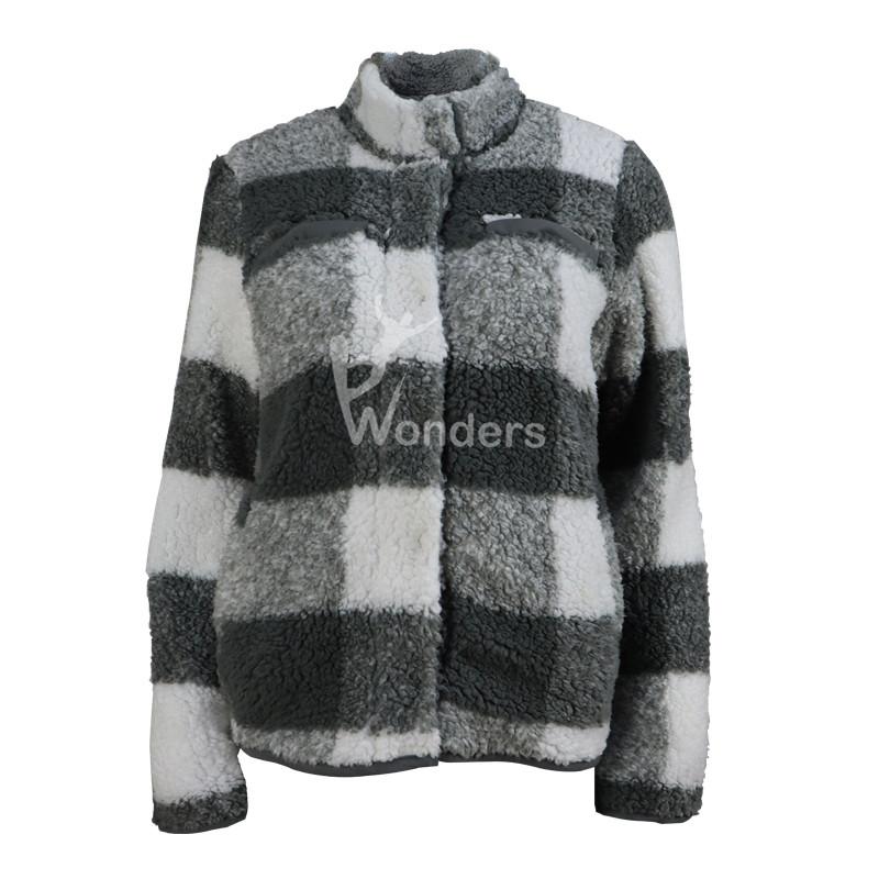 Women's Checker Pattern Sweatshirt Polar Fleece Jacket