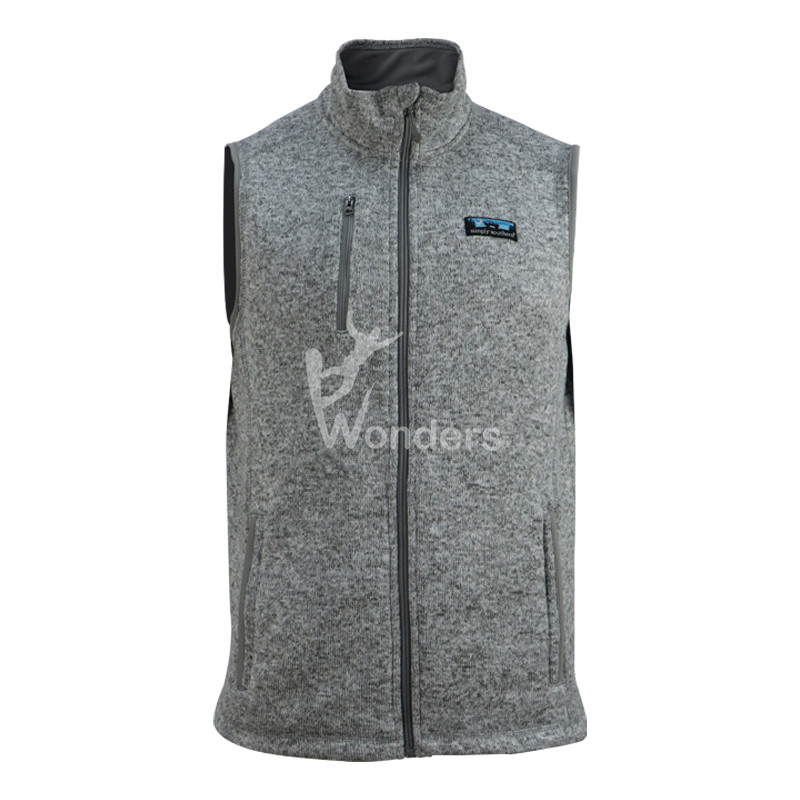 Men's Knit Hoodie Full Zip Fleece Vest