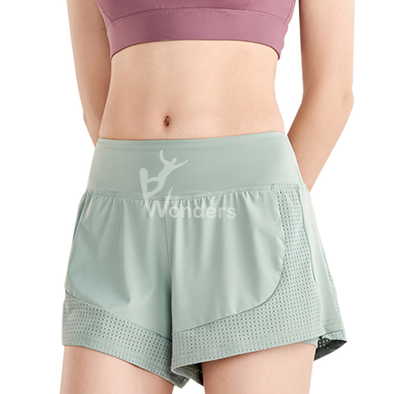 Ladies Double Layer Mesh Running Sports Workout Shorts
