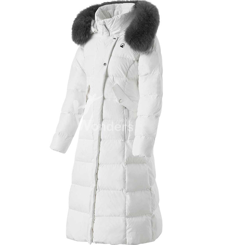 Women's Hooded Down Jacket Long Puffer Coat with Removable Faux