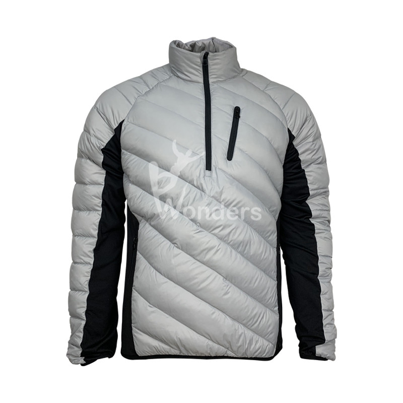 Men's Hybrid Half Zip Packable Down Jacket Waterproof Pullover