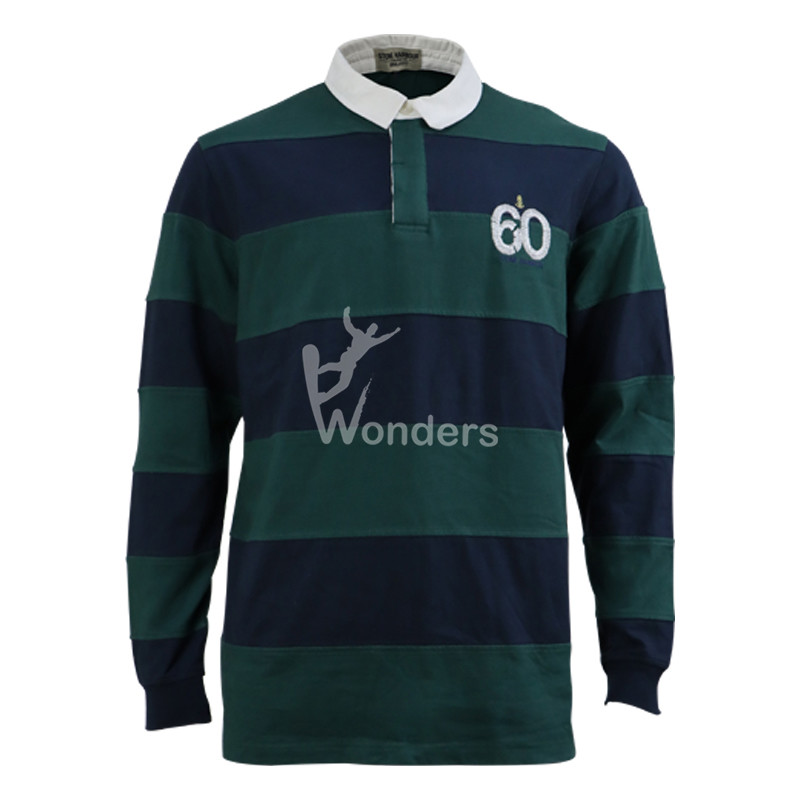Men's Long Sleeve Polo Royal and Green Striped Rugby Shirt
