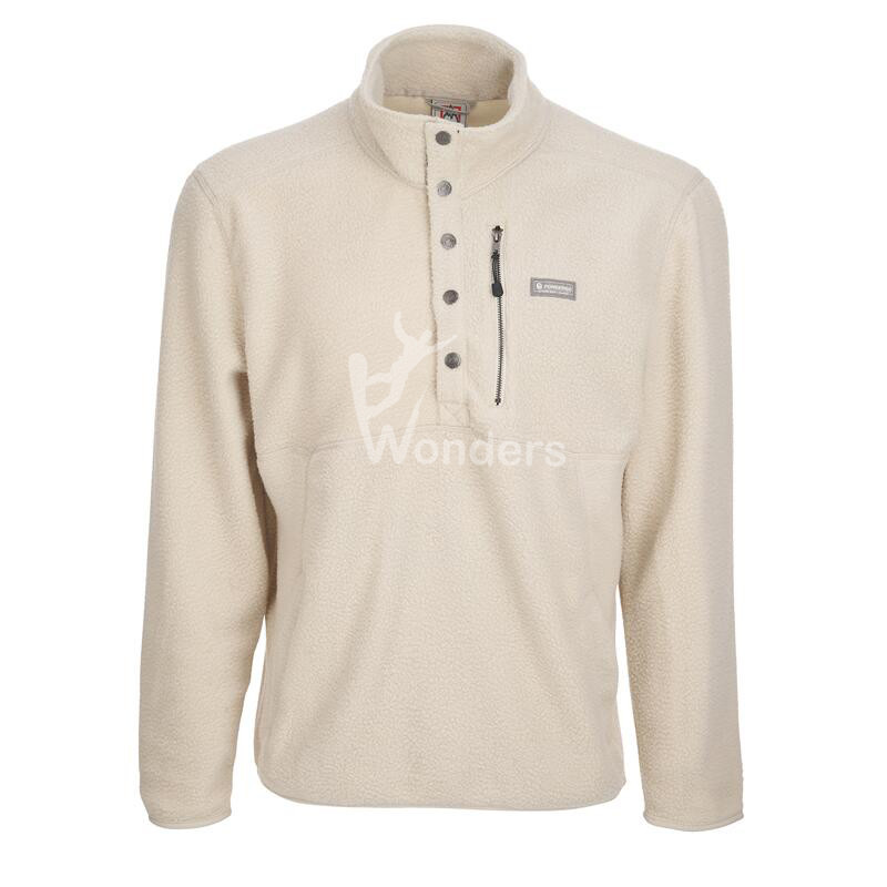 Men's 1/2 Snap Up Mock Neck Fleece Pullover With Side Pockets