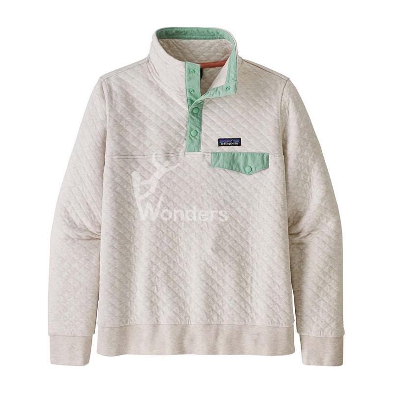 Women Organic Cotton Quilt Pullover Contrast Snap-T Sweatshirt