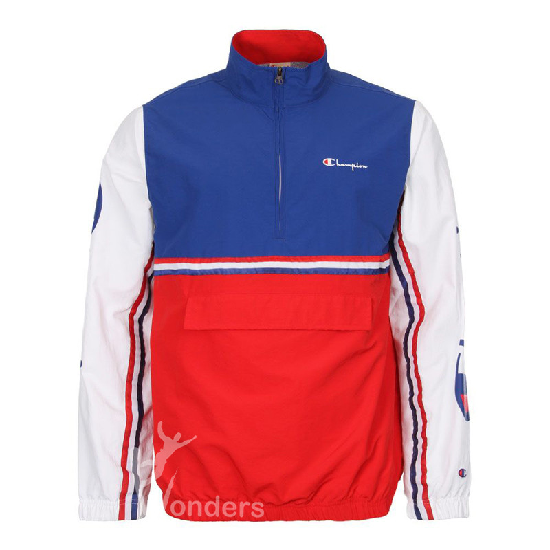 Men's Red White and Blue Windbreaker Jacket Reverse Weave Half Zip Coat