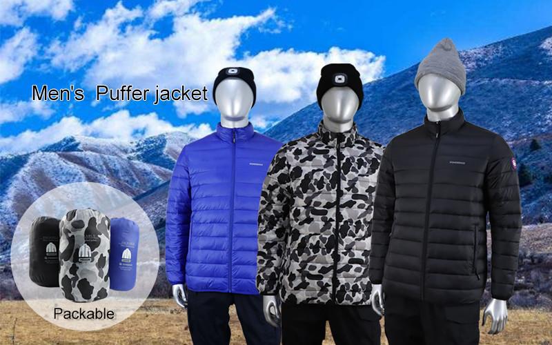 Men's Lightweight Packable Puffer Jacket Water-Resistant Coat