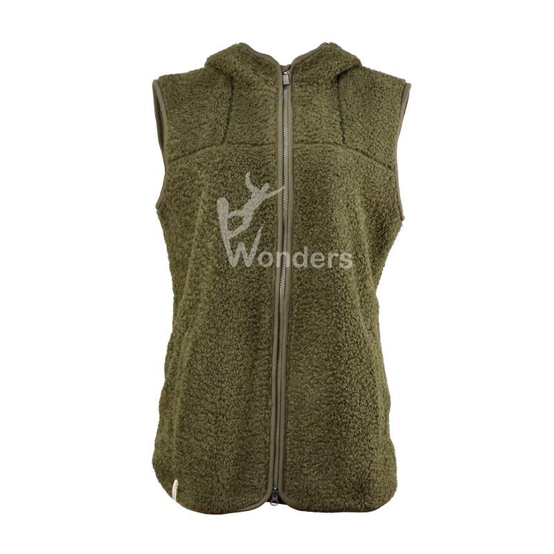 Womens Sherpa fleece Full zip hoodie vest