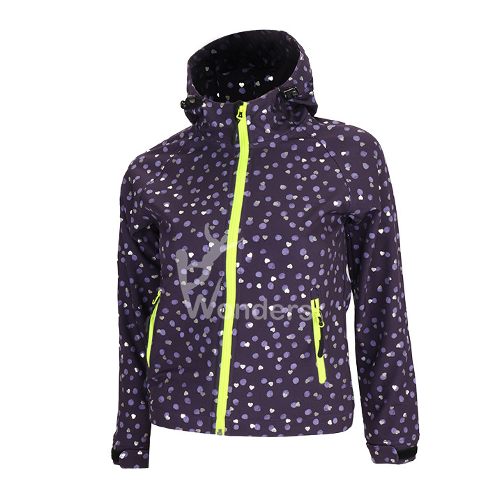 Girls 4 way stretch bonded microfleece hoodie softshell jacket with shiny print