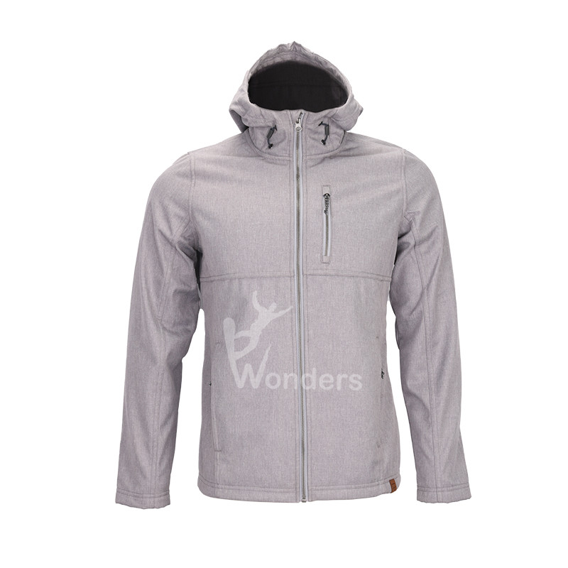 Men's  melange sherpa lined  hoodied outdoor softshell jacket