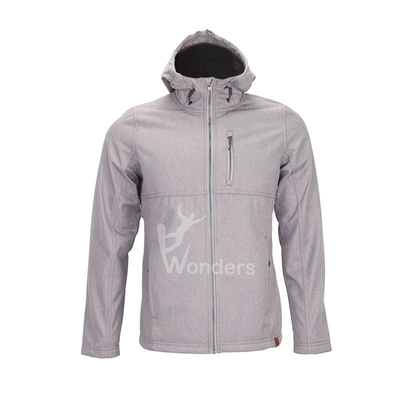 Men's  melange sherpa lined  hoodied outdoor softshell jacket