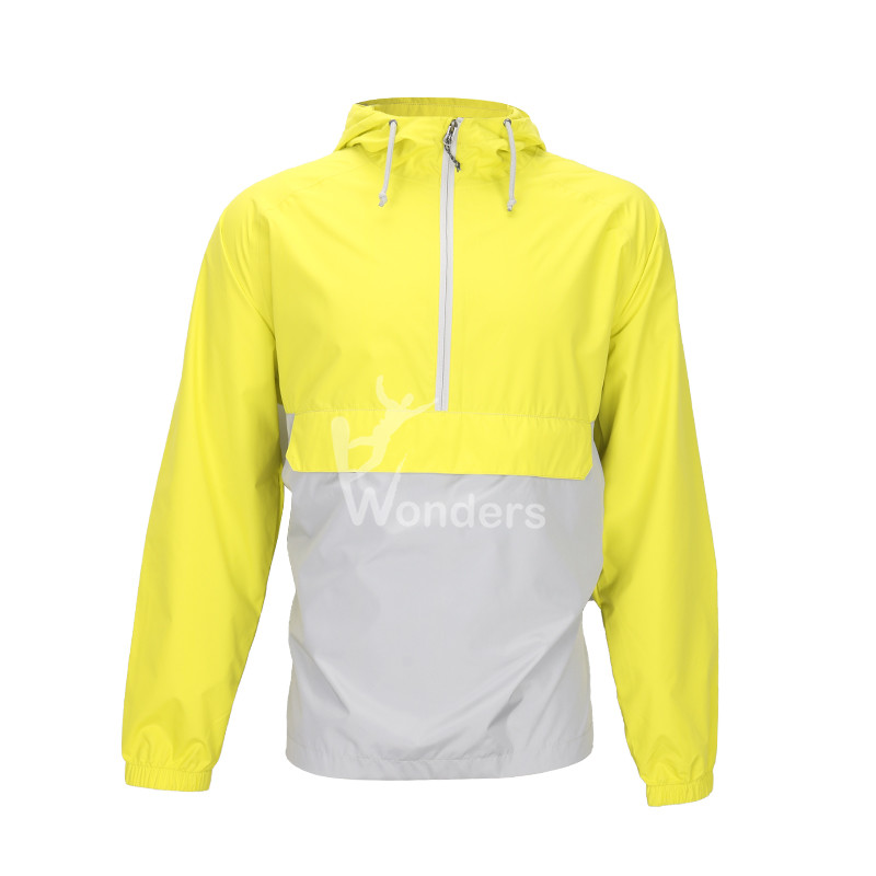 Men's  waterproof  1/4 zip  packable hooded rain jacket
