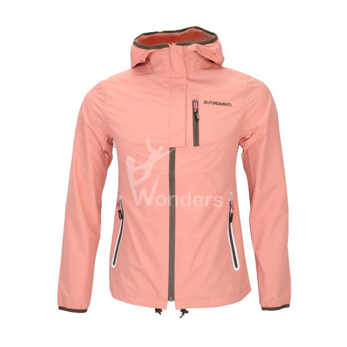 Women's waterproof breathable hooded rain jacket with welded  pocket