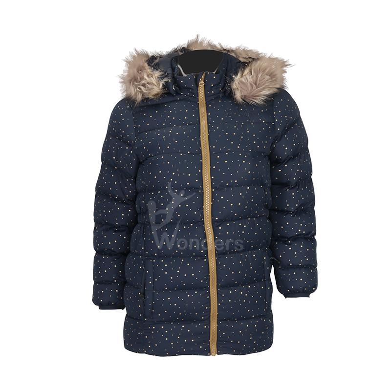 Kids jacket padded puffer dot print  jacket with  fake fur hood