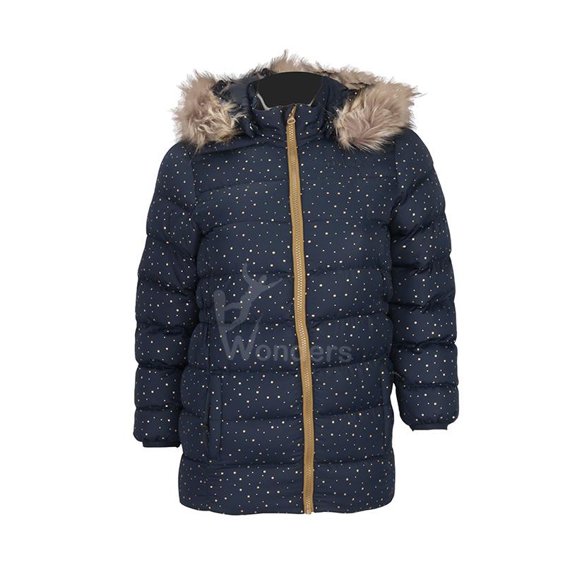 Kids jacket padded puffer dot print  jacket with  fake fur hood