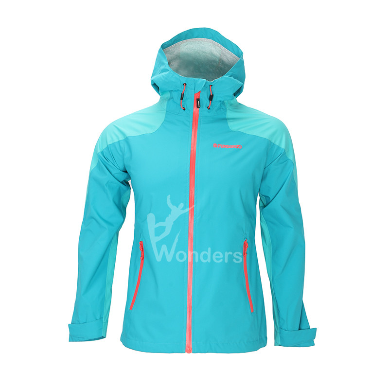 Women's waterproof  breathable 2.5 layer fix hood rain jacket