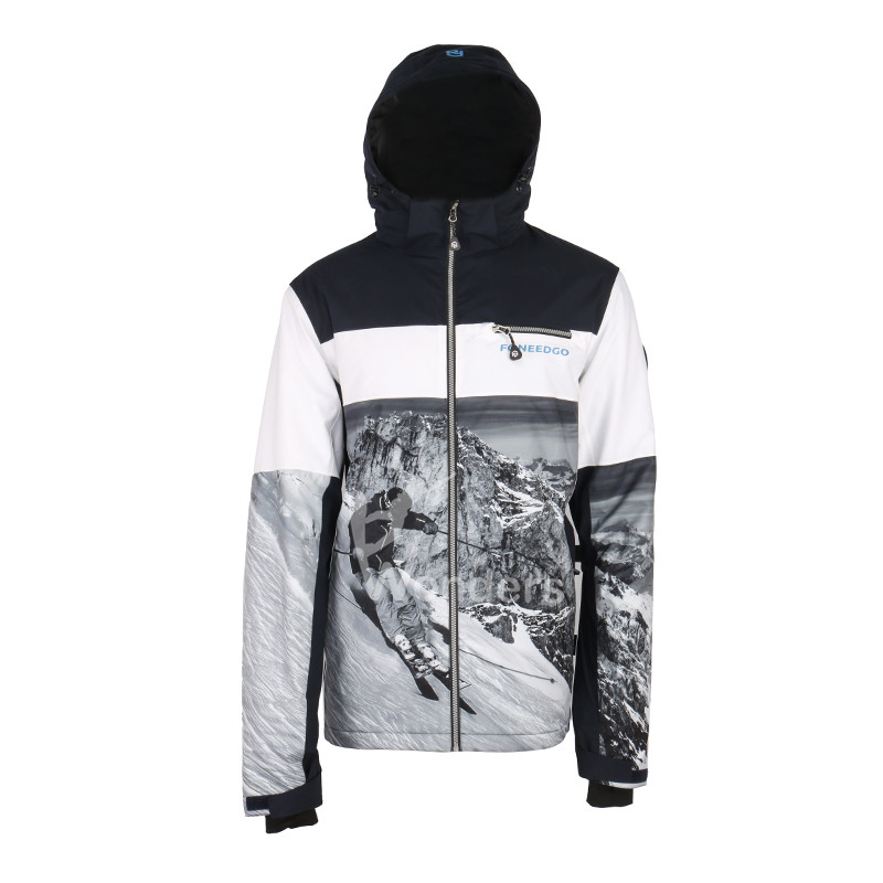 Foneedgo men's waterproof   sublimation print  snowbard ski shell jacket fix hood