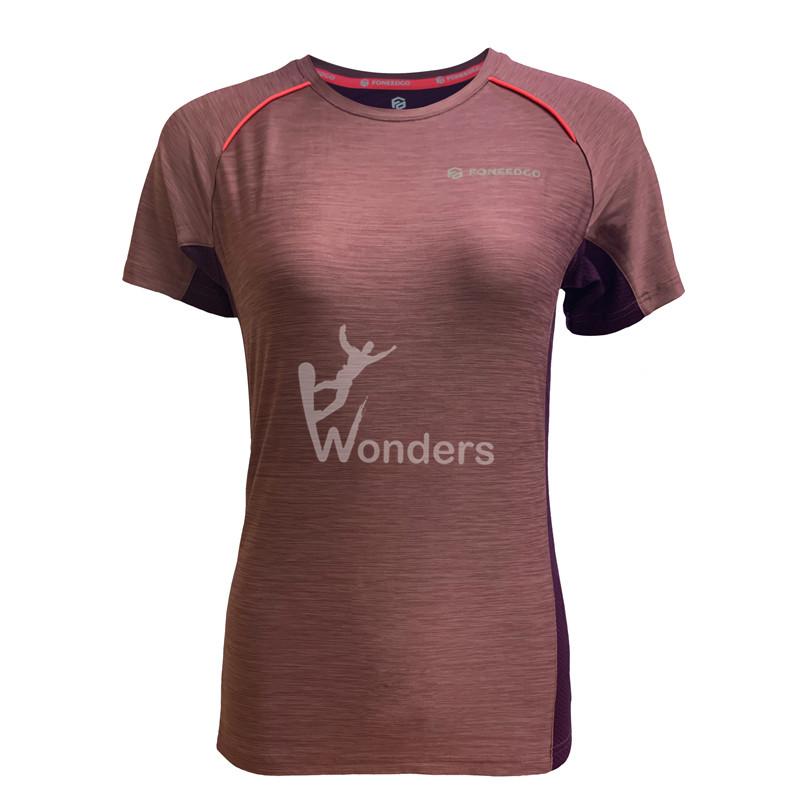Women's short sleeve quick dry running tee shirts melange contrast color