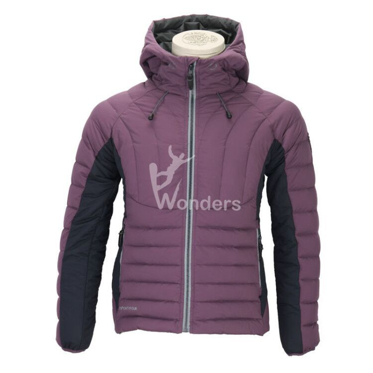 Women's water resistant  stretch 90/10 duck down hoodie  jacket