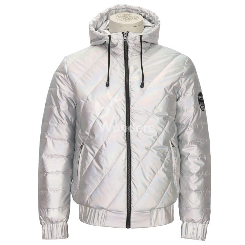 Mens Shiny Silver metallic winter padded hoodie jackets