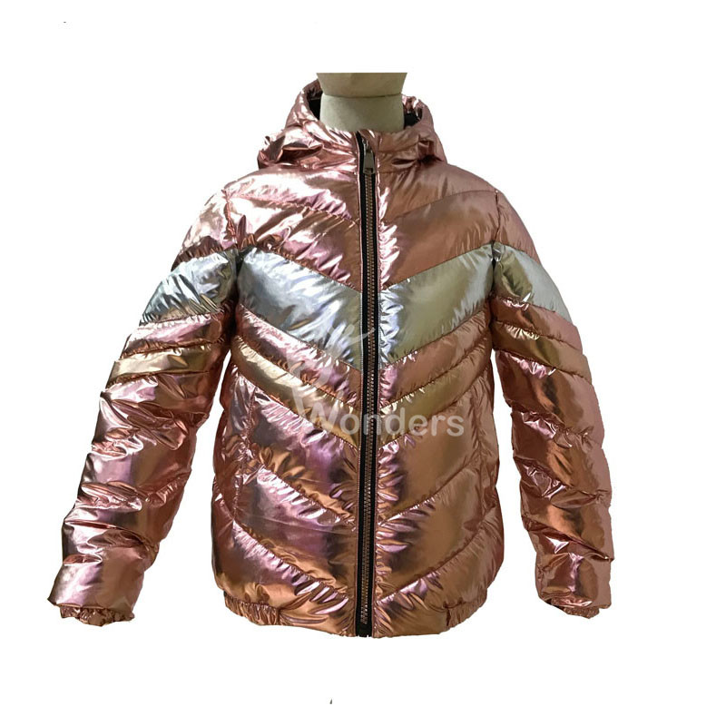 Girl's Shiny metallic  full zip  puffer padded hooded jacket