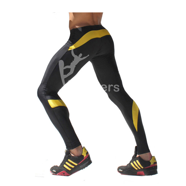 Mens Sports Leggings Long With Drawstring Stripe Summer Compression Thermal Fitness Pants