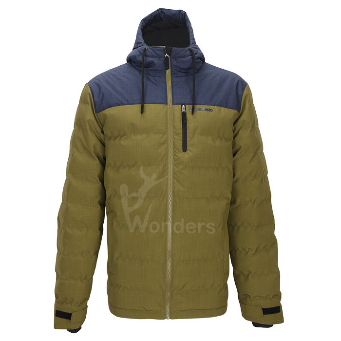 Men's insulated water-resistant puffer padded hooded jacket heather melange