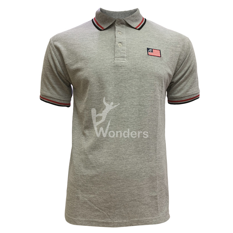 Man's casual slim fit short sleeve gray Melange Polo tshirt