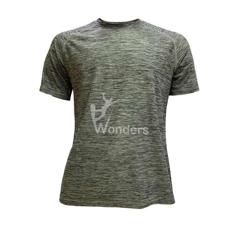 Man's casual slim fit short sleeve Round Neck gray running shirts Tops