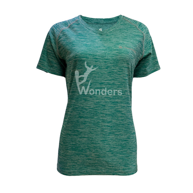 Woman's casual slim fit short sleeve green running T-shirt Round Neck Tee