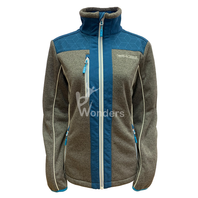 Man's Sweater knit specialized hybrid Jacket 2-tone Full zipper Jacket