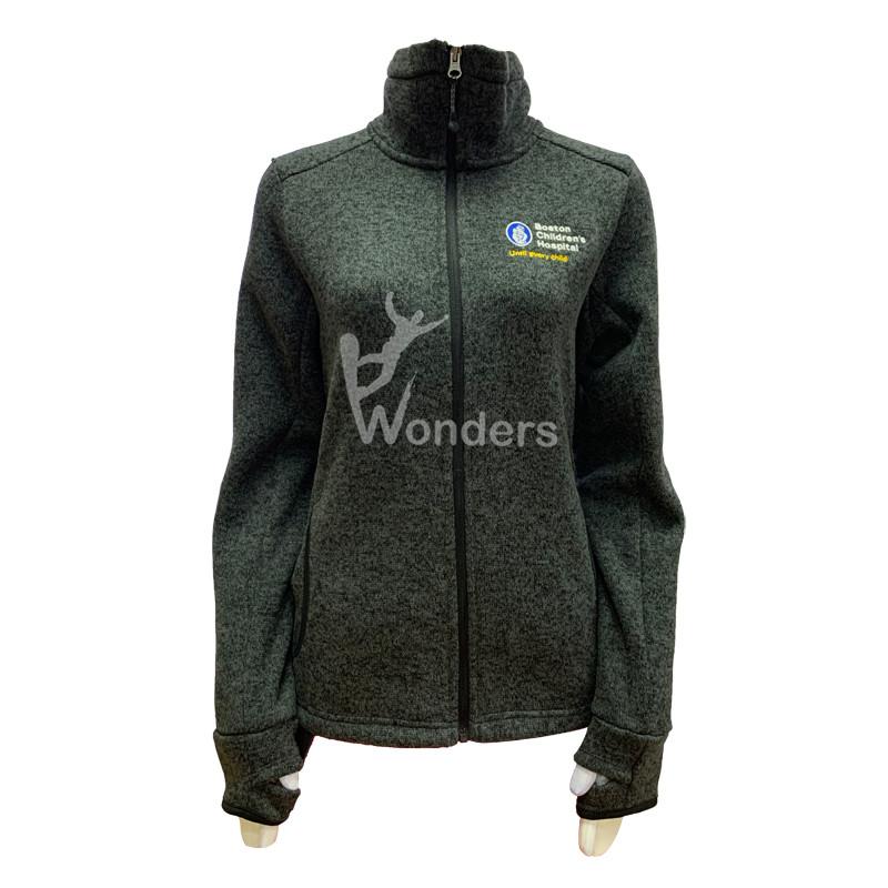Woman's casual sweater knit jacket Full-Zip Up Fleece Jacket