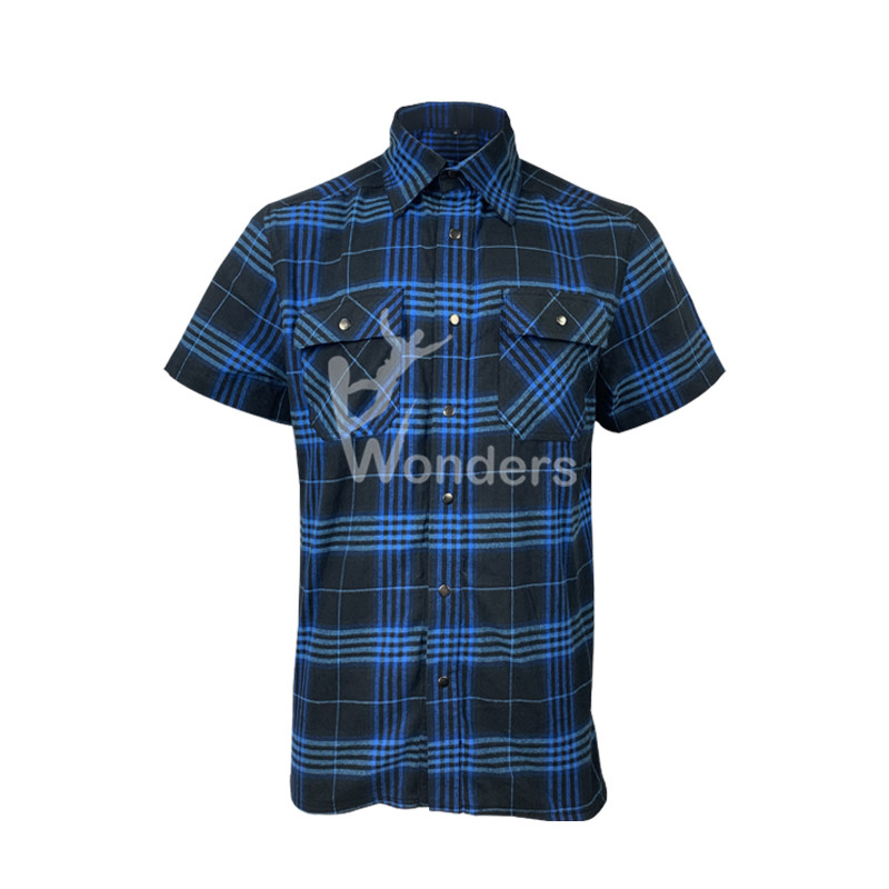 Mens Yarn-Dyed Short-Sleeve Flannel Work Casual Button Fitted Shirts