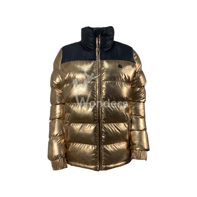 Womens Winter Shiny Metallic Color Padding Jacket Puffer
