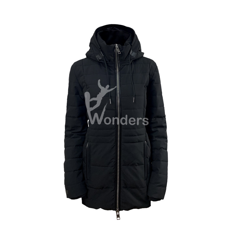 Ladies Zip Up Zipper Hoodies Detachable Hooded Puffer Jacket