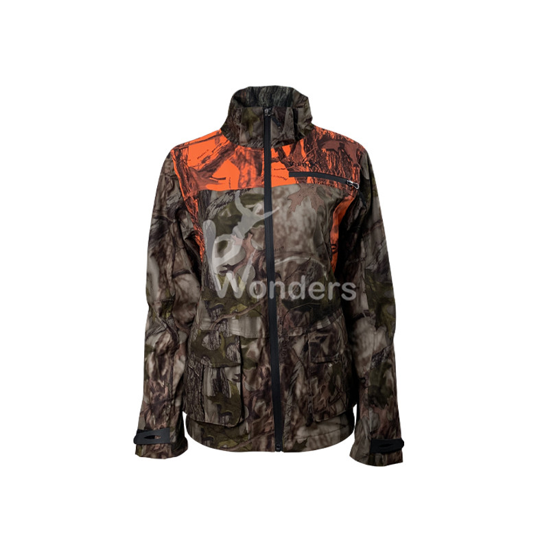 Women's Camo Breathable Waterproof Hunting Jacket with Removable Hood