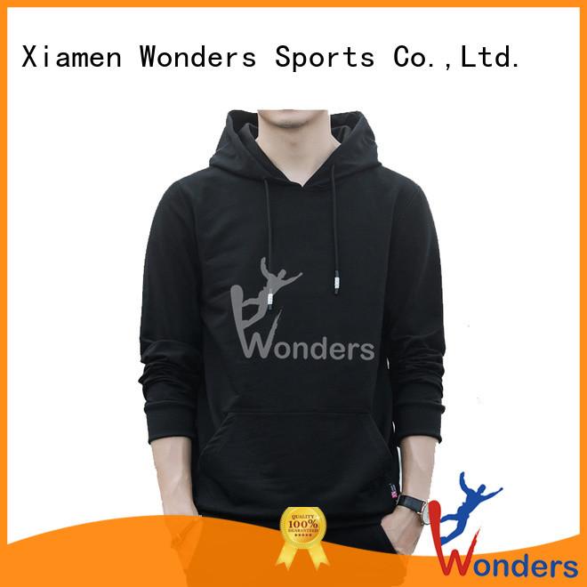 Wonders plain black pullover hoodie best supplier bulk production